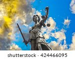 statue of lady justice in front ... | Shutterstock . vector #424466095