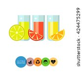 glasses of various citrus juice | Shutterstock .eps vector #424475299