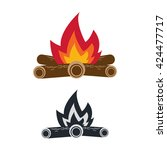 icon of bonfire with firewood... | Shutterstock .eps vector #424477717