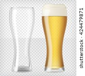 two beer glasses  one empty and ... | Shutterstock .eps vector #424479871