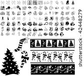 Christmas Set Of Black Sketch....