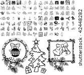 christmas set of black sketch.... | Shutterstock .eps vector #42448282