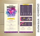 watercolor cocktail menu design.... | Shutterstock .eps vector #424485565