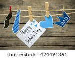 happy father's day greeting... | Shutterstock . vector #424491361
