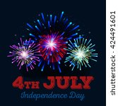 4th july fireworks background ... | Shutterstock .eps vector #424491601