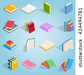 Book Icons Set In Isometric...