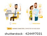 business characters in circle.... | Shutterstock .eps vector #424497031