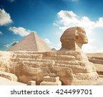 sphinx giza  egypt. | Shutterstock . vector #424499701