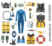 snorkeling and scuba diving set ... | Shutterstock .eps vector #424510504
