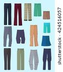 set of men's pants in flat... | Shutterstock .eps vector #424516057