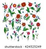 set of floral elements. spring...   Shutterstock .eps vector #424525249
