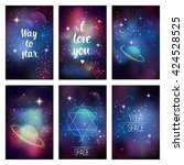 cosmic greeting card. way to... | Shutterstock .eps vector #424528525