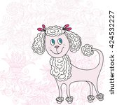 cute pink dog | Shutterstock .eps vector #424532227