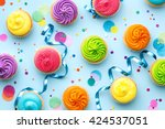 colorful cupcake party... | Shutterstock . vector #424537051
