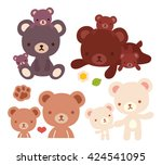 collection of lovely bear... | Shutterstock .eps vector #424541095