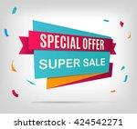 super sale banner. sale poster... | Shutterstock .eps vector #424542271