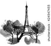 paris eiffel tower  watercolor  | Shutterstock . vector #424547455