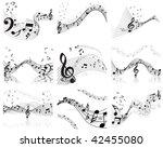 musical notes staff backgrounds ... | Shutterstock . vector #42455080