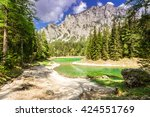 peaceful mountain view with...   Shutterstock . vector #424551769
