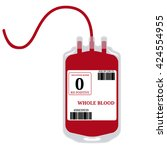 blood bag with label and text... | Shutterstock .eps vector #424554955