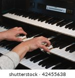 Small photo of Hands of the musician on an organ keyboard
