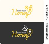 logo bee honey. stylish and... | Shutterstock .eps vector #424559575