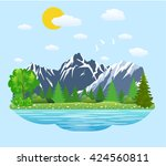 natural landscape in the flat... | Shutterstock .eps vector #424560811