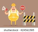 funny cartoon character. grumpy ... | Shutterstock .eps vector #424561585