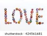 the word love of beads venetian ... | Shutterstock . vector #424561681