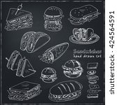 vector set of sandwiches. club... | Shutterstock .eps vector #424564591