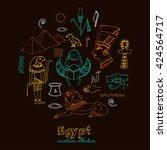 egypt symbols set sketches....   Shutterstock .eps vector #424564717