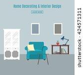 home interior. interior design... | Shutterstock .eps vector #424571311