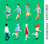 isometric active people.... | Shutterstock .eps vector #424572829