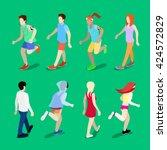 isometric active people.... | Shutterstock .eps vector #424572829