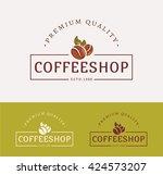 coffee shop logos. templates...   Shutterstock .eps vector #424573207