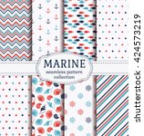 set of marine and nautical... | Shutterstock .eps vector #424573219
