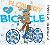 Bunny On A Flowery Bicycle Wit...