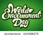 world environment day hand... | Shutterstock .eps vector #424588375