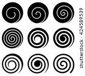 Set Of Nine Spirals  Isolated...