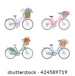set of retro bicycles with... | Shutterstock .eps vector #424589719