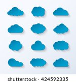 abstract paper clouds set.... | Shutterstock .eps vector #424592335