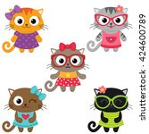 cute little cat girls wearing... | Shutterstock .eps vector #424600789