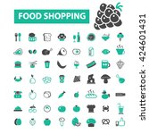 food shopping icons  | Shutterstock .eps vector #424601431