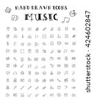 hand drawn doodle icons  music  ... | Shutterstock .eps vector #424602847