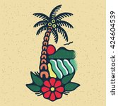 traditional tattoo flash palm... | Shutterstock .eps vector #424604539