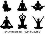 yoga positions. silhouettes...