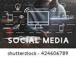 social media devices... | Shutterstock . vector #424606789