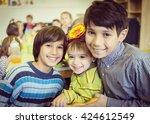 birthday party in kindergarten | Shutterstock . vector #424612549