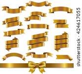golden ribbons set  | Shutterstock . vector #424617055