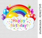 happy birthday banner banner... | Shutterstock .eps vector #424617145